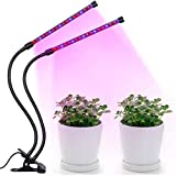 Flouroen Grow Light Plant Light RFC-J 18W Dual Head LED Grow Lights 36LED 3 Working Modes Dimmable with Red/Blue Spectrum 360 Degree Adjustable Plant Light for Indoor Plants