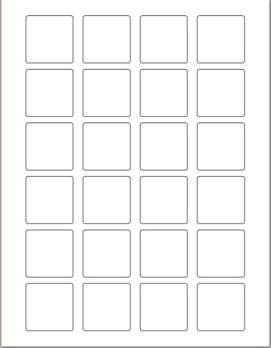 DigiOrange Premium 2400 Multi-Purpose Square Labels, 1.5 x 1.5 Inches, 24 Per Sheet Labels for Laser & Inkjet Printers (100 sheets)