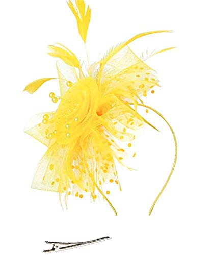 Fascinator Hat for Women Tea Party Headband Kentucky Derby Wedding Cocktail Flower Mesh Feathers Hair Clip (Hj4-Yellow)
