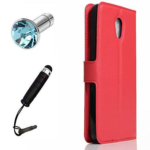 Lusee® PU Caso de cuero sintético Funda para Lenovo Vibe P2 5.5 pulgada Cubierta con funda de silicona rojo