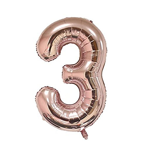 Tellpet Rose Gold Number 3 Balloon, 40
