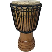 "Classic Heartwood Djembe Drum - 9""x 18"", Hand-carved, Solid-wood, Goat-skin, from Ghana"