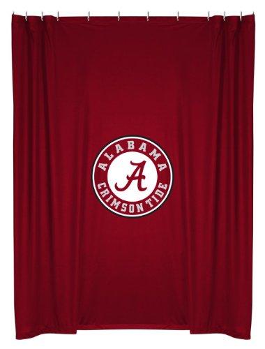 Alabama Crimson Tide COMBO Shower Curtain, 2 Pc Towel Set & 1 Window Valance/Drape Set (84 inch Drape Length) - Decorate your Bathroom & SAVE ON BUNDLING! by Sports Coverage