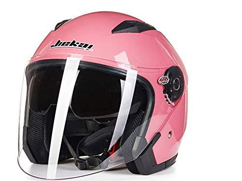 Motorcycle Helmets Men and Women Helmet Double Lens Full Mountain Bike Helmet Harley Helmet Four Seasons Road Race Helmet,Pink,XL