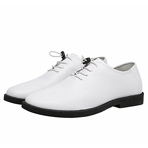Easy Go Shopping Leather Shoes, Men's Low Top Shoes Casual Matte Loafers Genuine Leather Lace up Breathable Lined Oxfords White