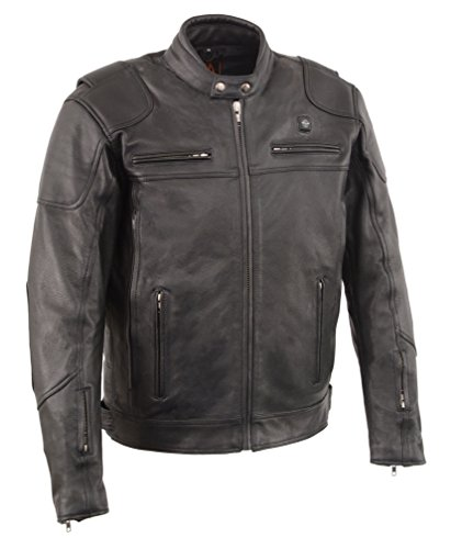 Men's Heated Leather Biker Jacket w/ Bike Harness Hookup - Stay Warm Bikers (3X - Big)