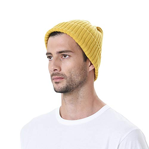 WITHMOONS Knitted Ribbed Beanie Hat Basic Plain Solid Watch Cap AC5846 (Yellow)