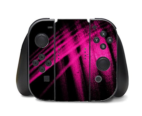 Hot Pink Abstract Paint Design on Black Background Nintendo Switch Controller Vinyl Decal Sticker Skin by Moonlight Printing