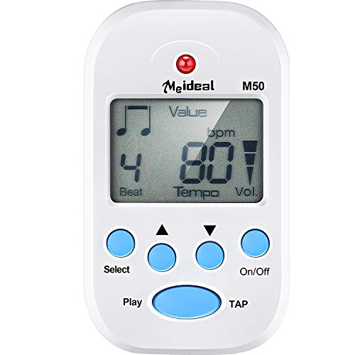 - Mini Digital Metronome, Multifunctional, Portable, Volume Adjustable, Clip on, with Speaker, Beat Tempo, with Battery for Piano, Guitar, Saxophone, Flute, Violin, Drum (1, White)
