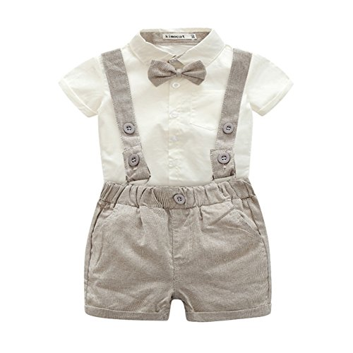Bib Shirt Pants (Zhengpin 2PCS Toddler Baby Boy Summer Set T-shirts Tops+Bib Pant Overalls Outfits Clothes (80(6-12Months), Brown))