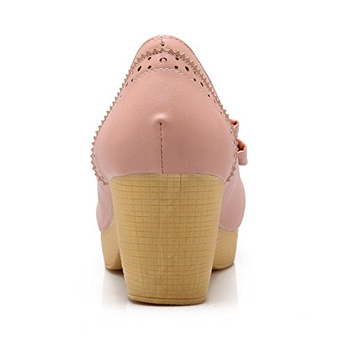 AllhqFashion Womens PU Solid Pull-On Round Closed Toe Kitten-Heels Pumps-Shoes Pink ZxB6NhlmFn