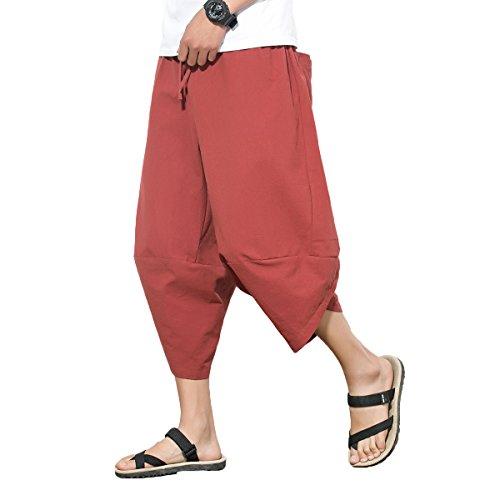 INVACHI Mens Casual Elastic Waist Linen Capri Wide Leg Baggy Harem Pants Trousers ()