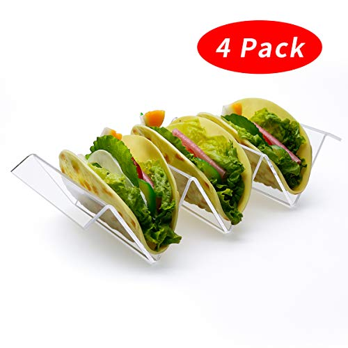(Taco Holder, Taco Rack Set of 4, Food Grade Clear Acrylic Stand with Handle, Hold 2 or 3 Shell Tacos or Snacks, Taco Truck Tray Style for Home Restaurant Dining Table Desktop)