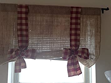KM Curtains Burlap Tie Up Valance With Burgundy Gingham 40 X 28