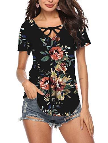 - GOCHIC Women's T-Shirt Short Sleeve Floral Tees V Neck Criss Cross Summer Tops #2Black L
