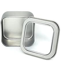 Tesadorz Square Tin Wedding Favor Silver Mint Boxes with Clear Lids (Pack of 24)