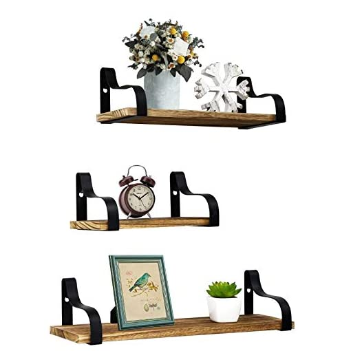 Entryway Y&ME YM Farmhouse Shelves for Wall, Set of 3 Rustic Wood Small Shelf Floating, Perfect for Bedroom, Living Room…