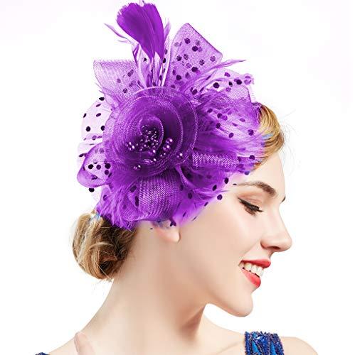 BABEYOND Women's Fascinators Hat Mesh Feather Fascinator Flower Hair Clip Veil Derby Hat Bridal 1920s Headpiece for Cocktail Tea Party (Purple)