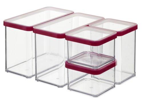 Rotho Vorratsdose Premium Loft - 5-teiliges Set (2x0.5, 1x1.0, 2x2.1 l) aromadichter Aufbewahrungsboxen - BPA-freie Frischhaltedosen - Kunststoffbehälter ist spülmaschinentauglich - 6691200096