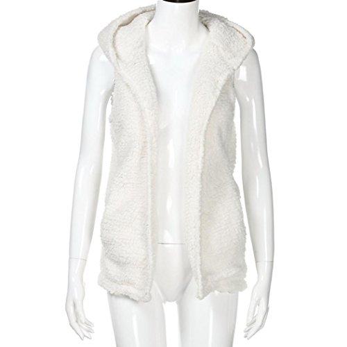Sammoson Donna Bianca Sherpa Capispalla Con Casual Cappotto Cappuccio Zip Gilet Invernale Fur Up Faux Giacca Felpa Da Caldo TxwFrqST