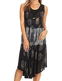 Sakkas Valentina Sleeveless Stonewashed Dress / Cover Up with Embroidery