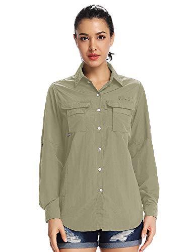 (Women's Quick Dry Sun UV Protection Convertible Long Sleeve Shirts for Hiking Camping Fishing Sailing #5055,Khaki, 3XL)