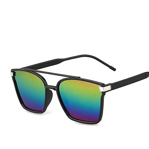 Aoligei Mode lunettes de soleil rétro élégant grosse boîte couleur film couleur lumineuse réfléchissant lunette de soleil D