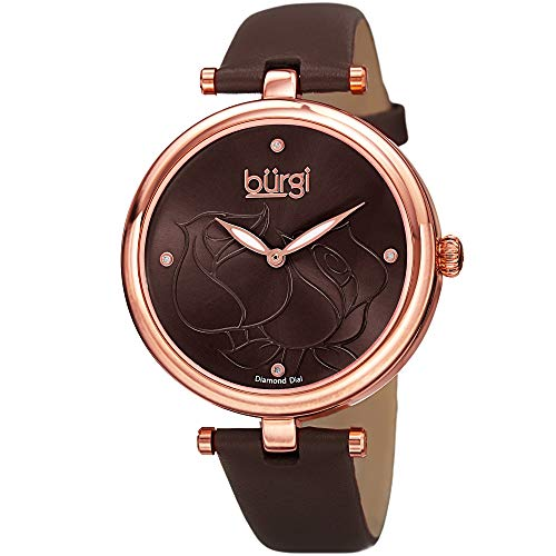 20 Diamonds Watch Womens (Burgi Women's BUR151BR Rose Gold Quartz Watch With Brown Diamond Dial And Brown Leather Strap)