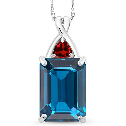 Gem Stone King 8.84 Ct Emerald Cut London Blue Topaz Red Garnet 10K White Gold Pendant (Trillion Cut Garnet Pendant)
