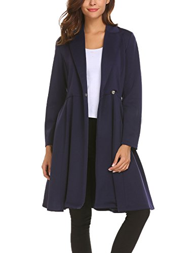 SE MIU Women's Lapel Trench Coat High Waist Slim Casual Swing Dress Coat Dark Blue (Wool Swing Coat)