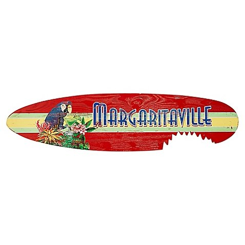 Wall Art Shark Bite Surfboard Crafted Of Pine Wood in Red (Oceans Song Lyric Wall Decal)