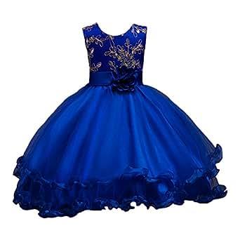 LSERVER-Flor vestido de los niñas para las fiestas en primavera u otoño, Azul Marino, 170