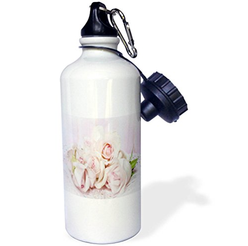Price comparison product image 3dRose Shabby Chic - Image of Closeup of Two Delicate Pink Roses on Lace - 21 oz Sports Water Bottle (wb_279883_1)