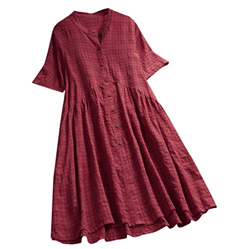 Jialili Women's Linen Loose Vintage Patch Print Short Sleeve Button Dress (L,Wine)