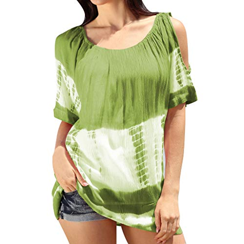 - Shiretel Fashion Women O-Neck Short Sleeve Cold Shoulder Tie-dye Print Color Block Top Green