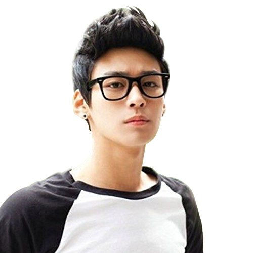 Black Short Wig,Acecharming Men Fashion Synthetic Quiff Hair Wigs For Daily Use with Cap