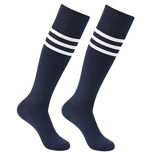 Football Tube Socks, Feelingway Mens Womens Solid Sport Striped Over Knee High Socks Soccer Baseball Softball Hockey Navy+White Stripe 2 Pairs