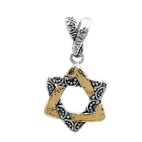 18 Karat Yellow Gold and 925 Sterling Silver Pendant with Star of David with Balinese Motif for Women and Jewelry Gift