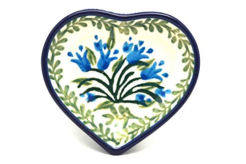 Polish Pottery Tea Bag Holder - Heart - Blue Bells