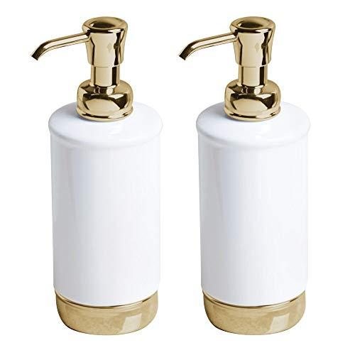 mDesign Modern Ceramic Refillable Liquid Soap Dispenser Pump Bottle for Bathroom Vanity Countertop, Kitchen Sink - Holds Hand Soap, Dish Soap, Hand Sanitizer, Essential Oils, 2 Pack - White/Soft - Gold Dispenser Bathroom Soap