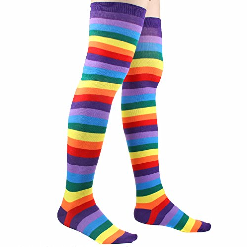 1 Pairs Colorful Rainbow Stripe Knee High Socks Costumes Accessory