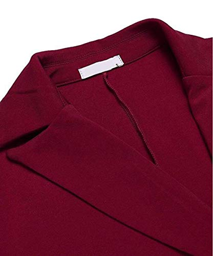 Manica Tailleur Blazer Lunga Da Donna Puro Autunno Winered Bavero Outerwear Business Slim Breasted Fit Double Giacca Colore Cappotto Confortevole 1PqZEw4