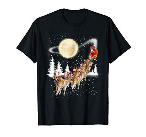 Golden Retriever Reindeer Christmas Tshirt