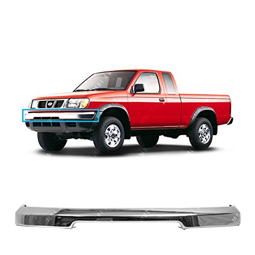 MBI AUTO - Chrome, Steel Front Bumper Face Bar for 1998-2000 Nissan Frontier Pickup 98-00, NI1002132 - Nissan Pickup Replacement Bumper
