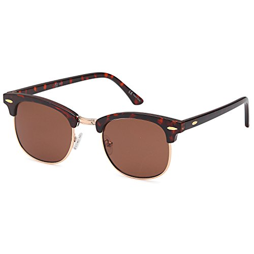 ALTEC VISION Vintage Retro Classic Half Frame Horn Rimmed Sunglasses with Polycarbonate - Tortoise Retro Shell Sunglasses