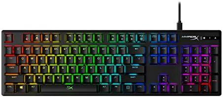 HyperX Alloy Origins, Teclado Gaming en Español, Interruptores mecánicos HyperX RED, Cuerpo de aluminio, Iluminación RGB, Software HyperX NGenuity, Tres ángulos de teclado 3