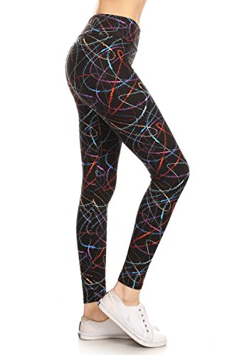 LYR-R638 Multicoloured Scribble Printed Yoga Leggings, One Size