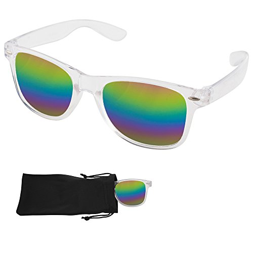 Wayfarer Sunglasses - Rainbow Mirrored Lenses with Plastic Transparent Frames - UV Ray Protected Shades For Men & Women - By Optix - Sunglasses Transparent Frame