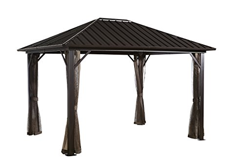 Sojag 12#039 x 16#039 Genova Hardtop Gazebo 4Season Outdoor Shelter with Mosquito Net Dark Brown