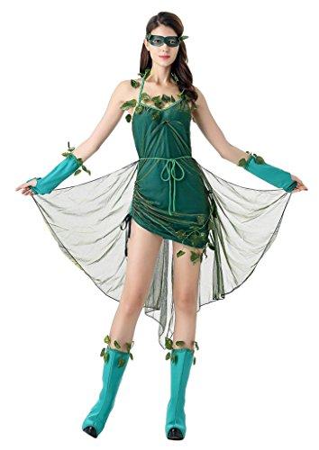 Forest Elf Costume (COMVIP Halloween Elf Forest 5 Pieces Cosplay Costume Apron Dress Set Green)